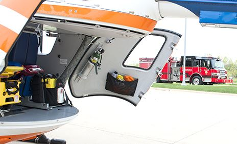 View of the back of a rescue helicopter